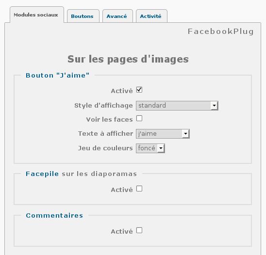 Ecran d'administration du plugin FacebookPlug pour Piwigo