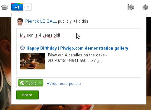 Google+ : partager la photo dans son flux
