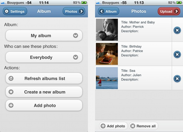 Application Piwigo pour iPhone/iPad : ajout de photo, sélection album et photos