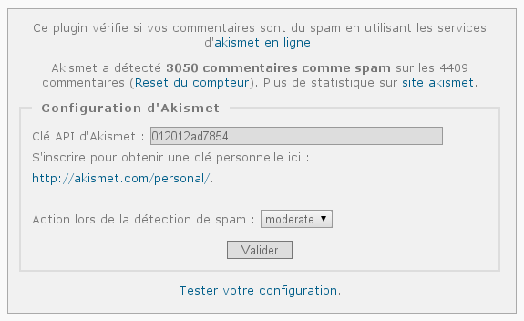 Plugin RV Akismet en action sur Piwigo