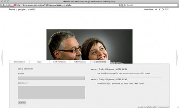 Piwigo et thème Stripped version 2, style White : les onglets d'information sont collés en bas de page et s'ouvrent par dessus la photo en montant.