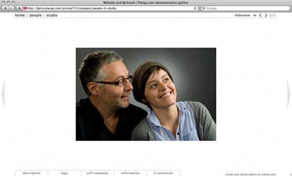 Piwigo et thème Stripped version 2, style White : la photo est au milieu de la page, quelque soit la hauteur disponible.