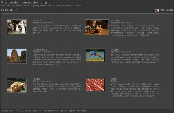 Piwigo et theme Simple : par défaut le titre et la description de l'album s'affichent à côté de la miniature