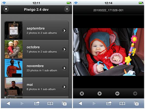 Piwigo 2.4 : une version mobile se charge automatiquement si le visiteur navigue sur la galerie à partir d'un smartphone comme iPhone ou Android