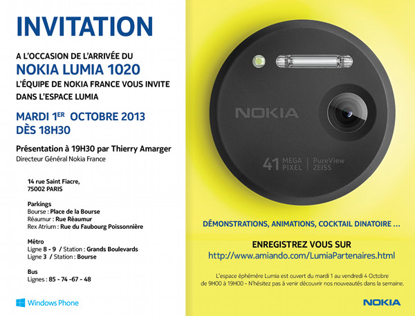 Invitation pour la Nokia Lumia Week 2013