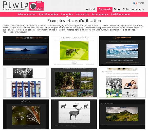Exemples et cas d'utilisation Piwigo.com