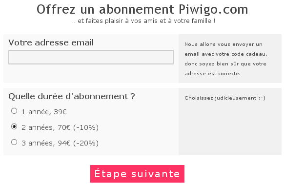 Offrir un abonnement Piwigo.com