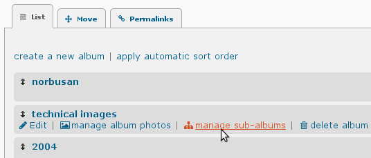 Piwigo 2.6 : nouvelles icones pour les divers onglets et liens.