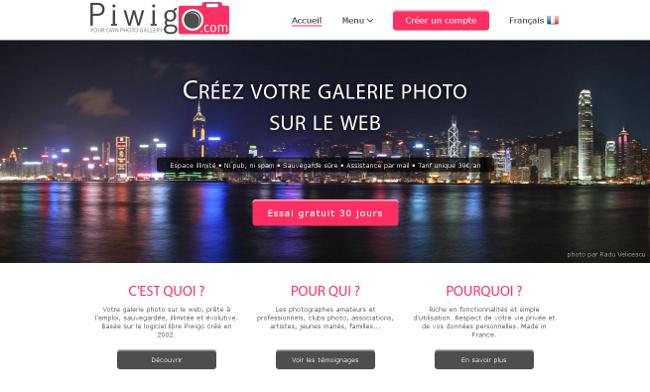 Nouvelle page d'accueil de Piwigo.com