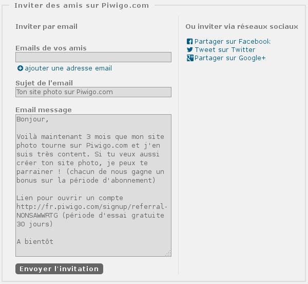"""Parrainage sur Piwigo.com, nouvelle fonctionnalité """"inviter"""", via email, facebook, twitter, google+"""
