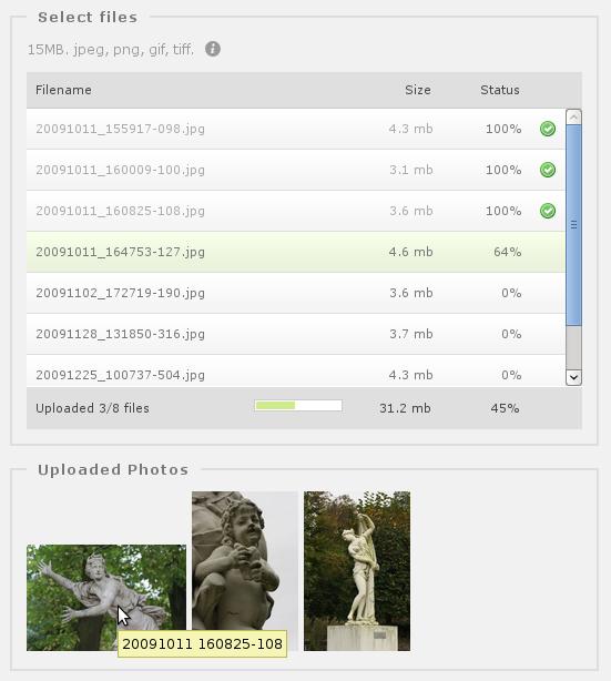 Piwigo 2.7 et son nouveau formulaire d'ajout de photos en HTML5. Cela signifie qu'il n'y a plus de Flash et que vous pouvez faire du glisser/déposer de photos depuis votre navigateur de fichiers. Et ça c'est vraiment cool !