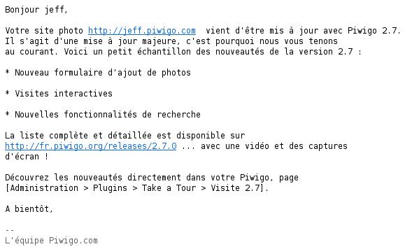 La notification par email lorsque votre compte Piwigo.com est mis à jour en version 2.7