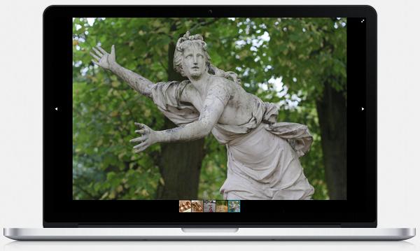 Piwigo et plugin Fotoram pour un diaporama plein écran. Ici sur un écran de 1440 pixels de large, avec une navigation par miniatures.
