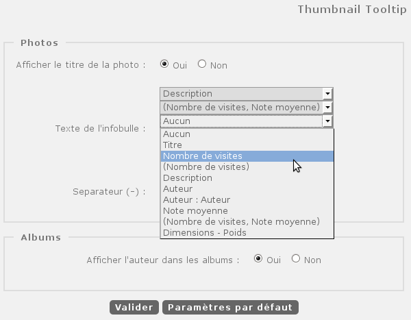 Configuration du plugin Thumbnail Tooltip