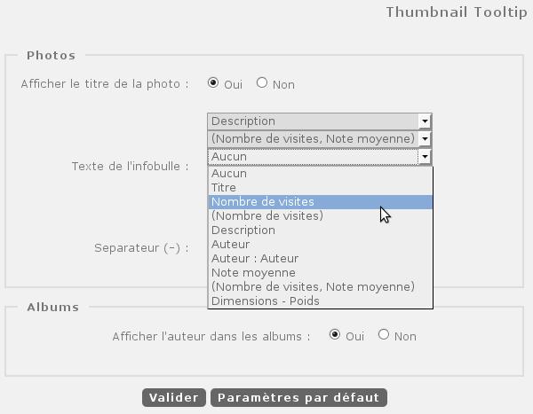 Configuration du plugin Thumbnail Tooltip