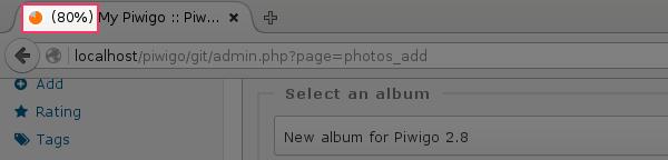 Pendant le transfert de vos photos vers Piwigo, le favicon (l'icône qui s'affiche dans l'onglet du navigateur web) s'anime pour vous montrer l'état d'avancement du chargement.