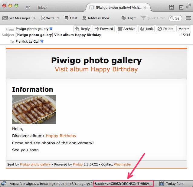 Clef d'identification automatique dans les emails envoyés par Piwigo 2.8