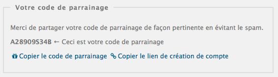 Petite nouveauté : possibilité de copier le code ou le lien d'enregistrement en un clic