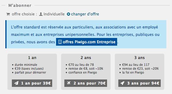 Abonnement Piwigo.com : offre individuelle, choisissez 1 ou 2 ou 3 ans