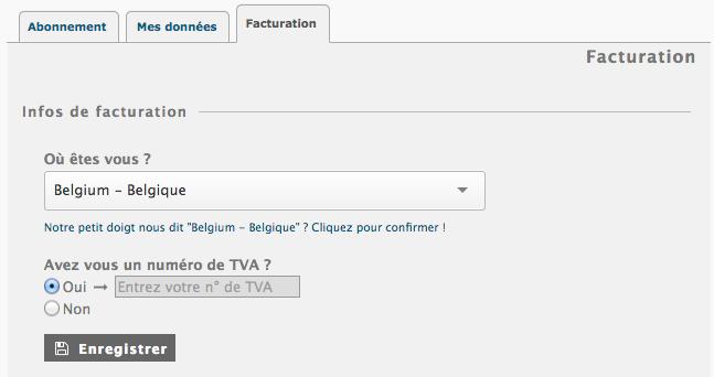 Abonnement Piwigo.com : renseigner votre pays et éventuellement votre numéro de TVA