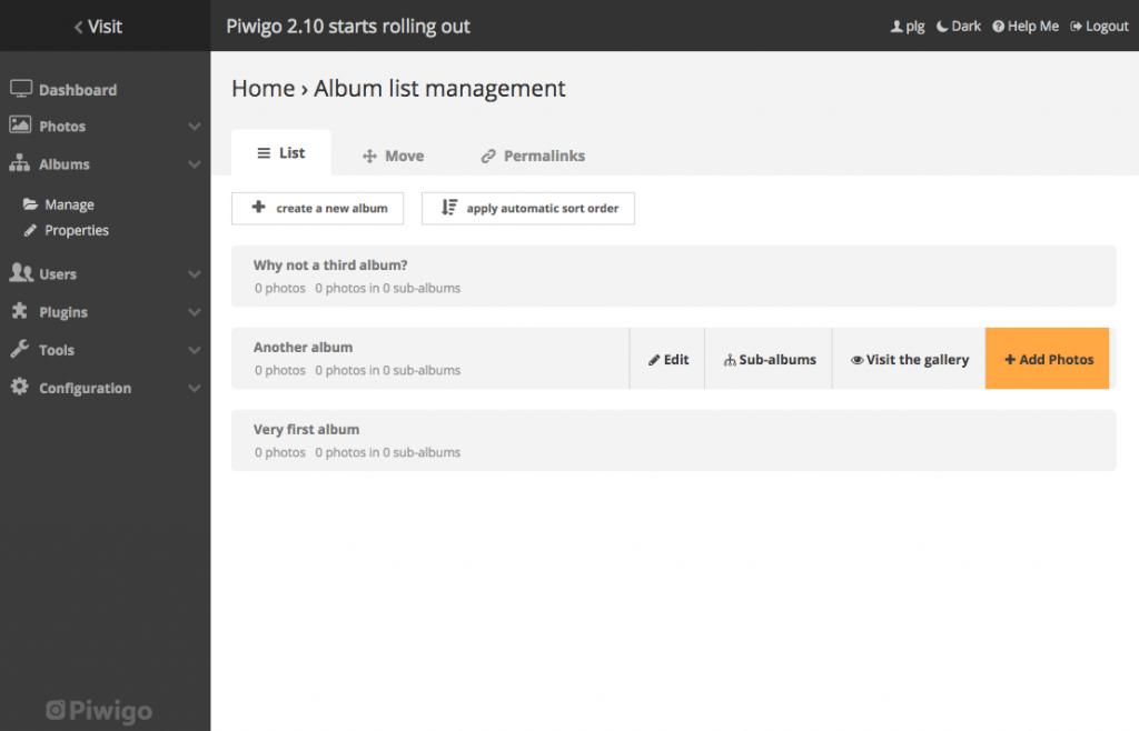 piwigo 2.10 gestionnaire d'albums